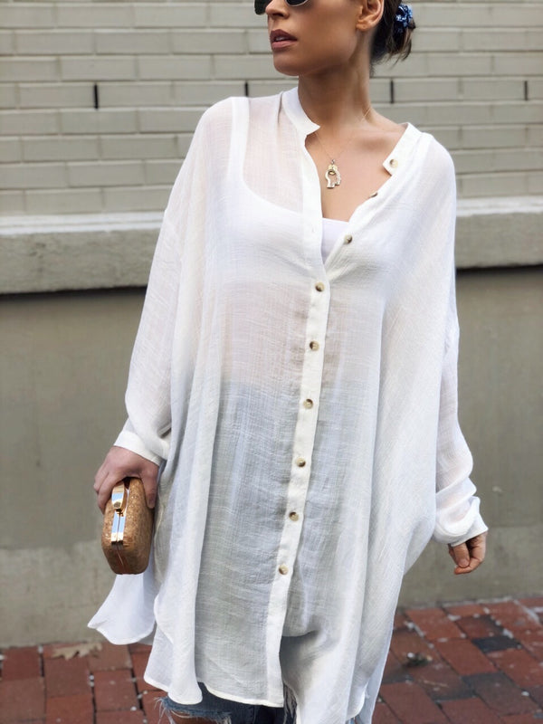 Not Your Boyfriends Button Down Shirt - White | amannequin | amqn boutique