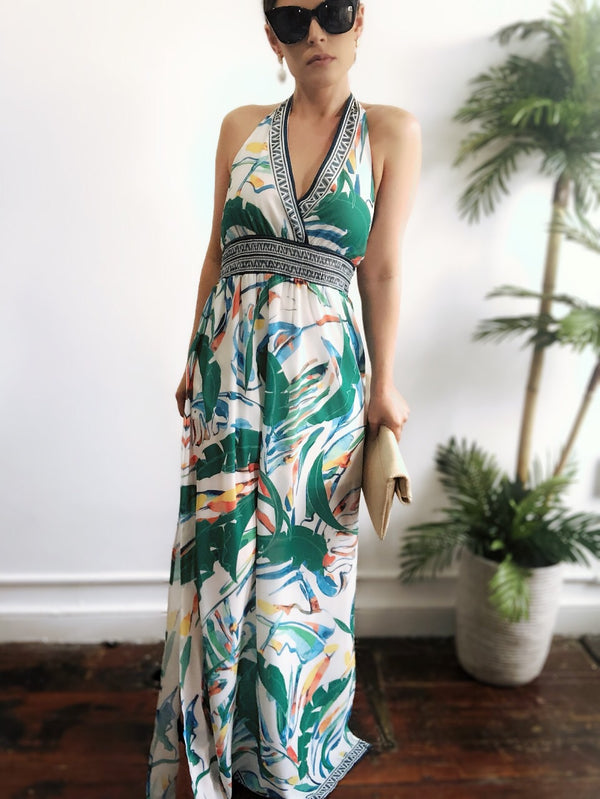 Dehli Tropical Leaf Print Halter Maxi Dress - amannequin - amannequin