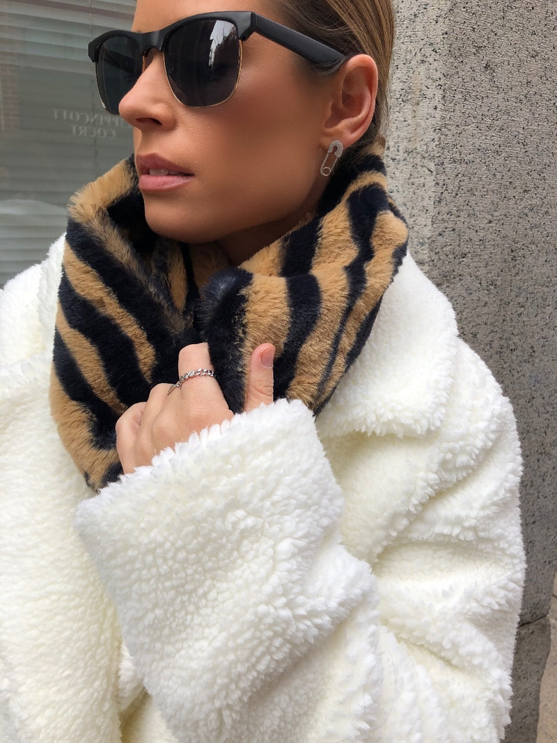 Janet Animal Print Faux Fur Infinity Scarf - Tiger-Scarf-fame-AMQN Boutique