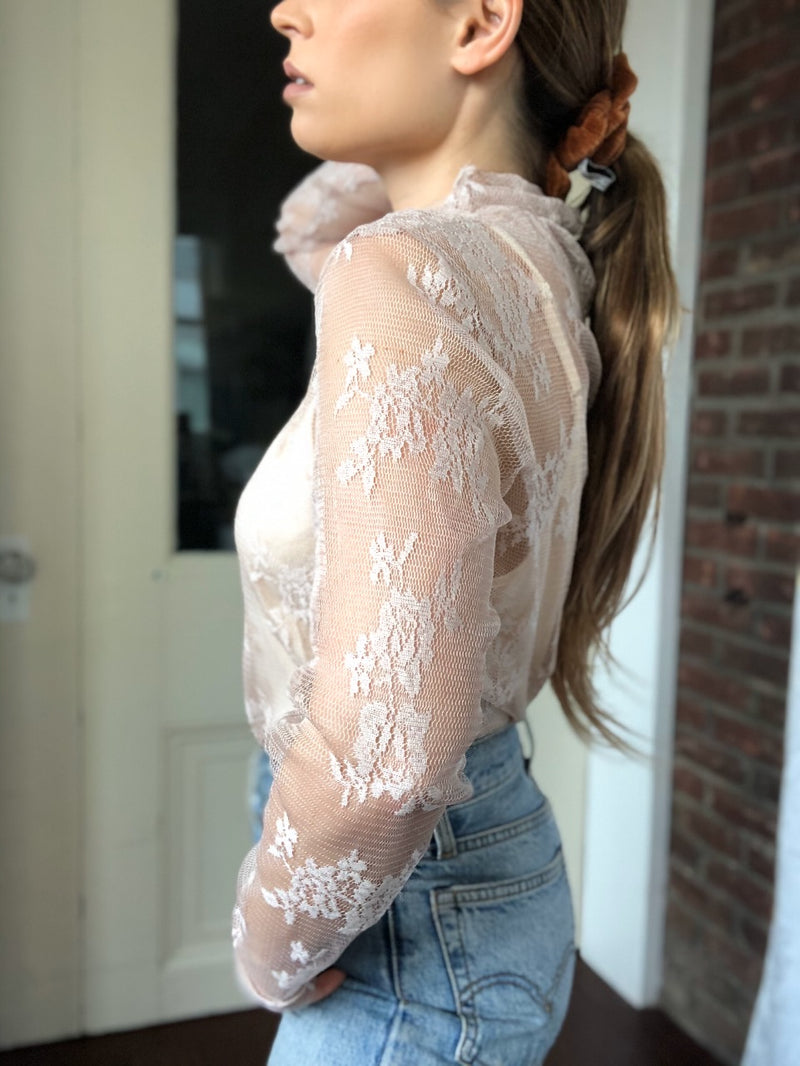 Florence Floral Mesh Lace Ruffle Long Sleeve Top - Blush - amannequin - amannequin