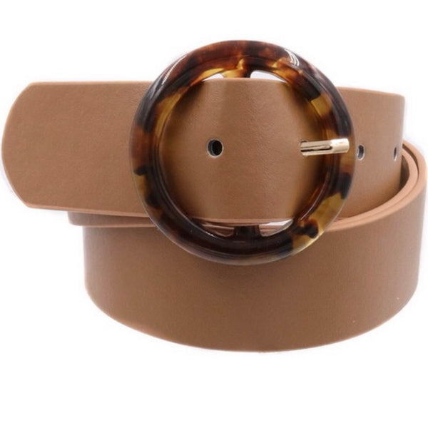 Bedford Tan + Tortoise O Ring Buckle Belt-Belt-art box-AMQN Boutique