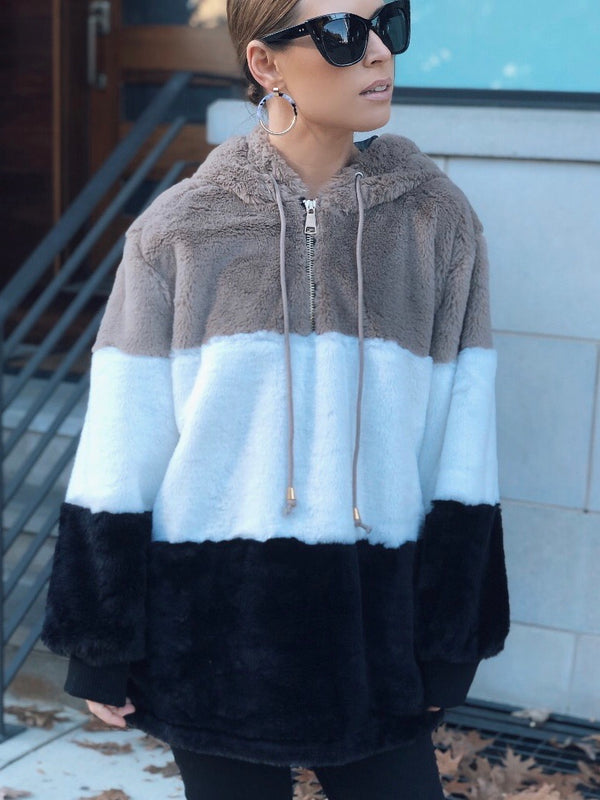 Jana Faux Fur Colorblock Hoodie - Black & White-Sweater-she & sky-AMQN Boutique