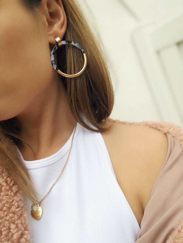 Lisa Resin & Gold Hoop Earrings - Tortoise - amannequin - amannequin