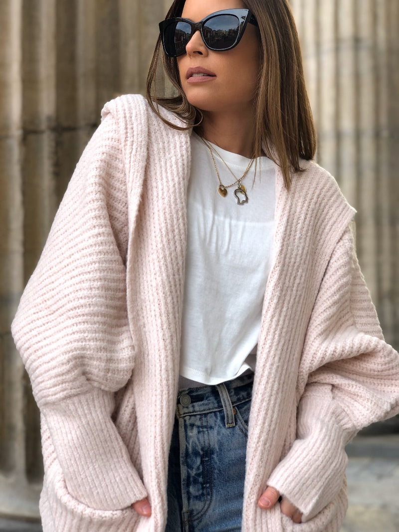 Willow Hoodie Cardigan Sweater - Blush Pink - amannequin - amannequin