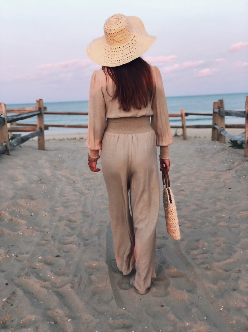 Kyra Nude Beige Smocked Wide Leg Jumpsuit-jumpsuit-Current Air-AMQN Boutique