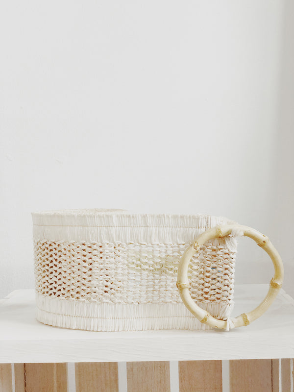 Bondi Oversized Woven Bamboo Buckle Belt - Natural