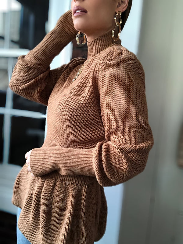 Diana Turtleneck Puff Sleeve Sweater - Almond-Sweater-favlux-AMQN Boutique
