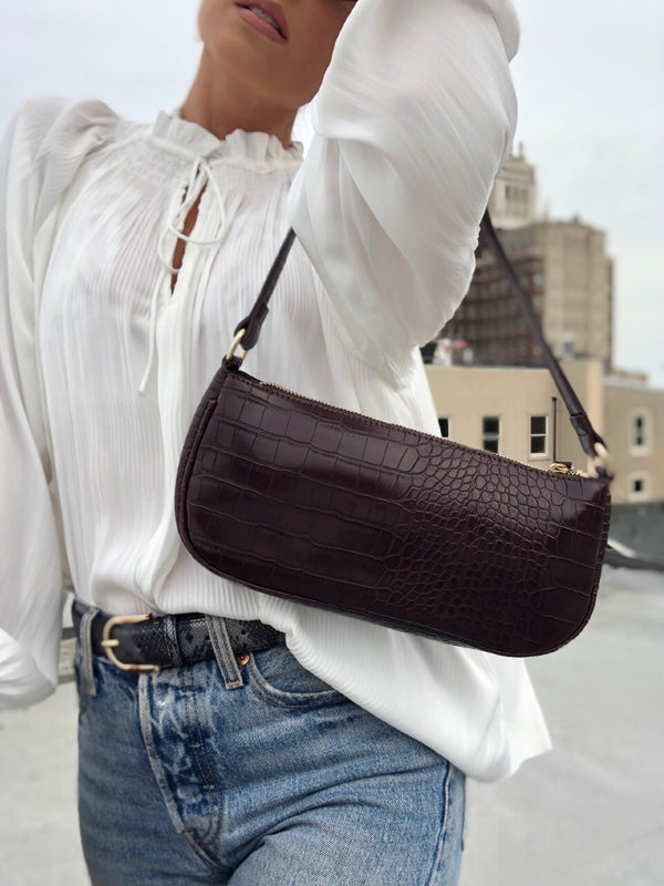 Jade Mock Croc Baguette Bag by Street Level - Choco Brown - amannequin - amannequin