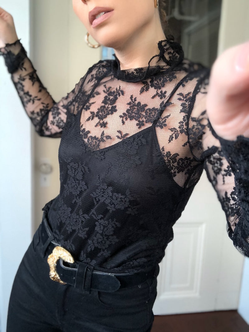 Florence Floral Mesh Lace Ruffle Long Sleeve Top - Black - amannequin - amannequin