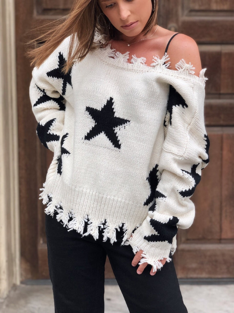 Starla Star Cropped Oversized Knit Sweater - Cream - amannequin - amannequin