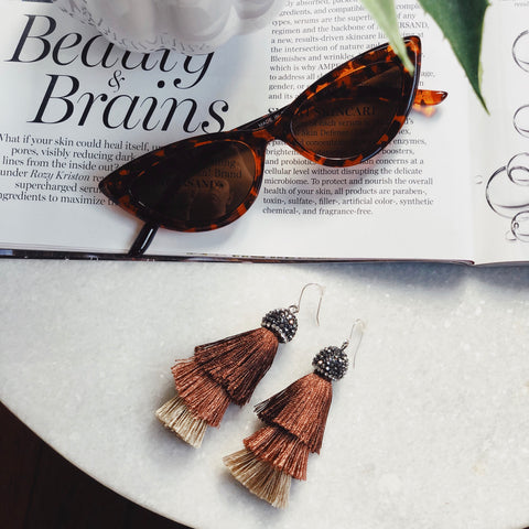 Santa Cruz Brown Layered Tassel Earrings