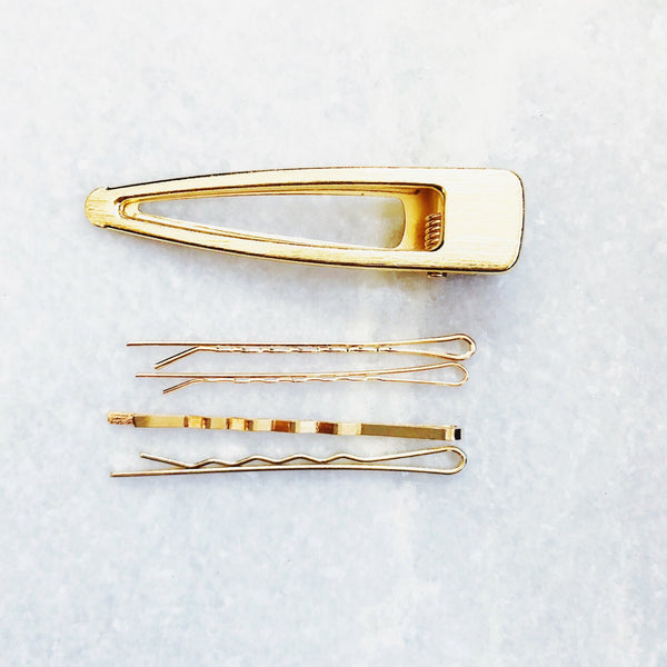 Basic B Gold Hair Pin & Barrette Set - amannequin - amannequin