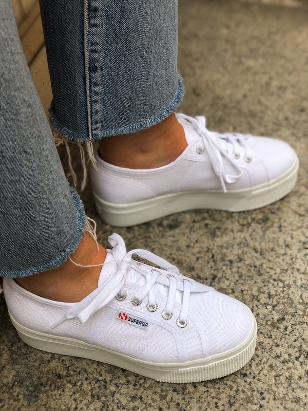Superga 2790 ACTOW White Platform Sneakers