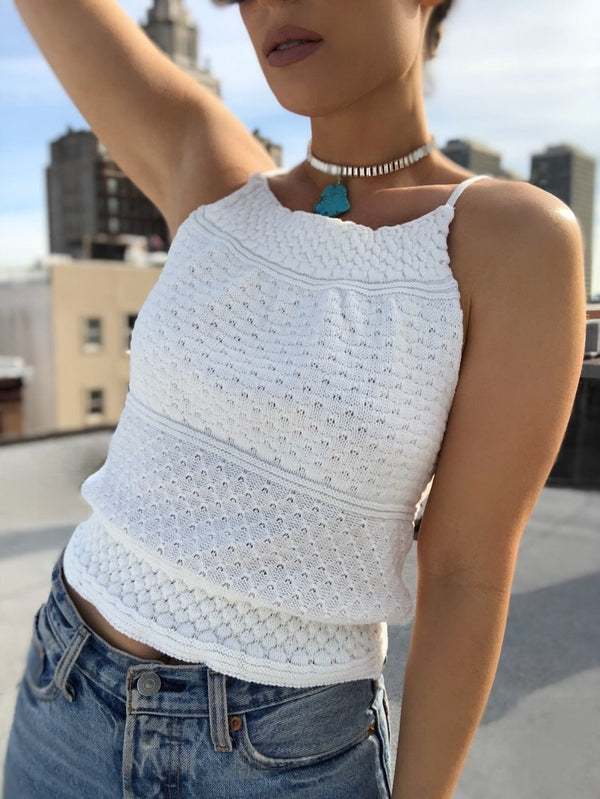 Bella Crochet Knit Halter Top - White | amannequin | amqn