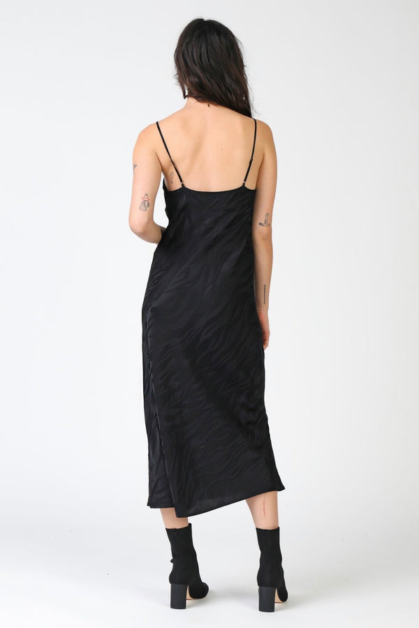 Vita 100% Silk Zebra Print Slip Dress - Black