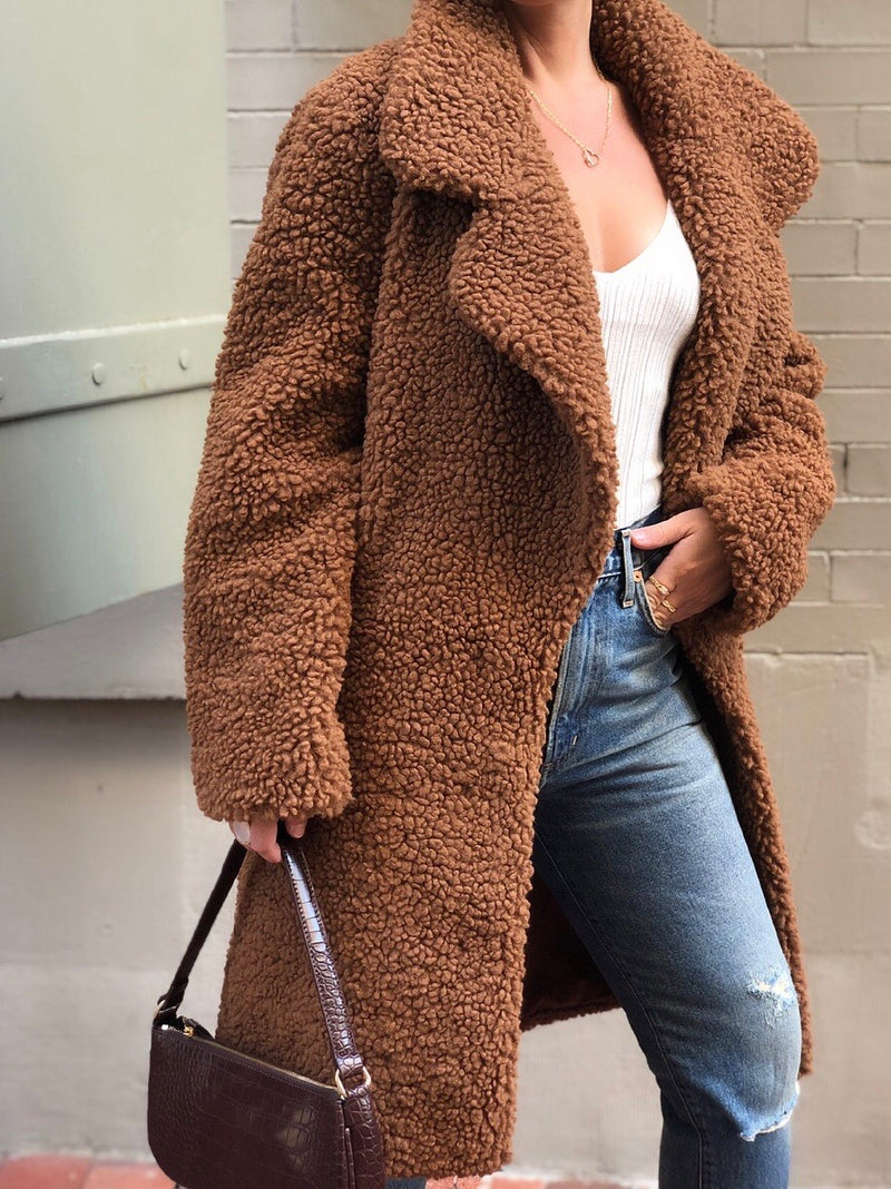 Nalah Faux Fur Notch Collar Teddy Coat - Brown - amannequin - amannequin