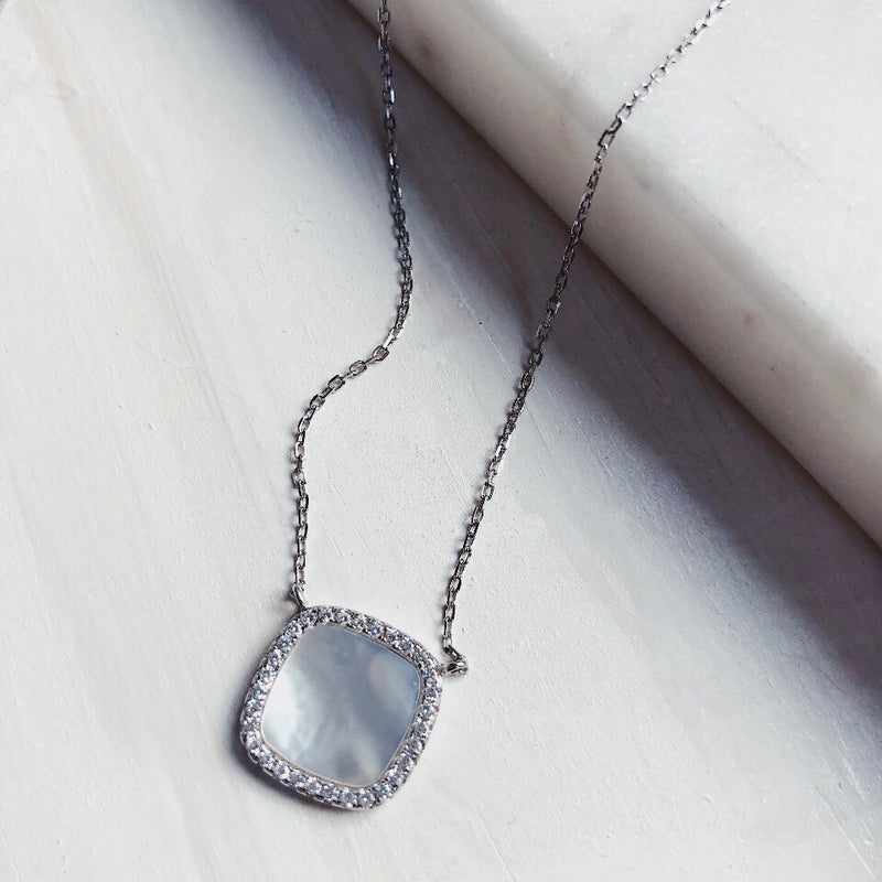 Havana CZ Mother of Pearl Sterling Silver Necklace - amannequin - amannequin