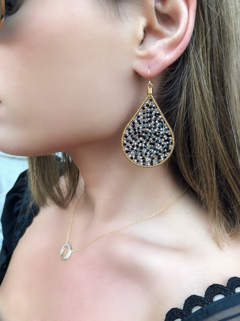 Cleo Beaded Tear Drop Earrings - Black - amannequin - amannequin