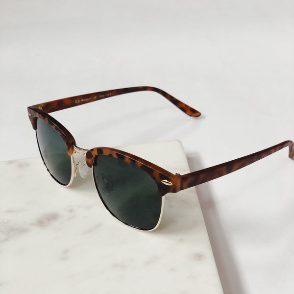 Gabby Matte Antique Brown Tortoise Retro Sunglasses by AJ Morgan - amannequin - amannequin