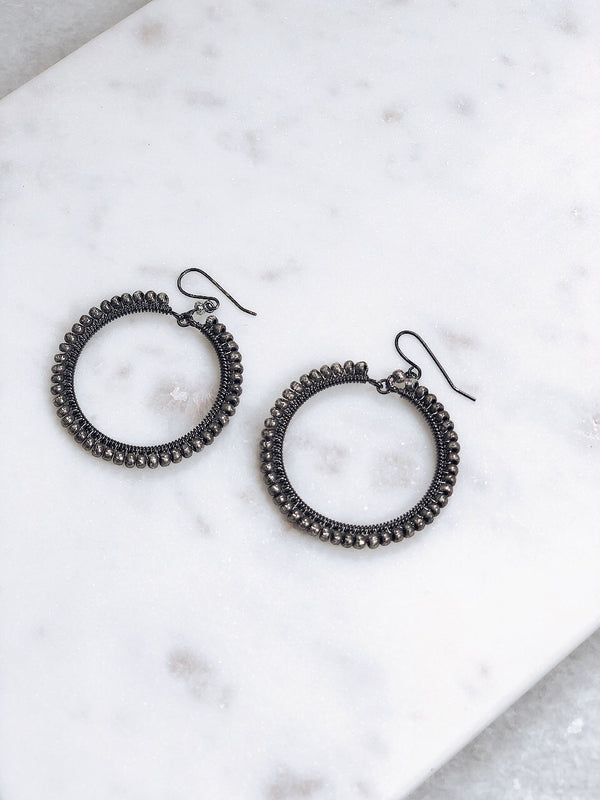 Antique Spirit Beaded Hoop Earrings - amannequin - amannequin