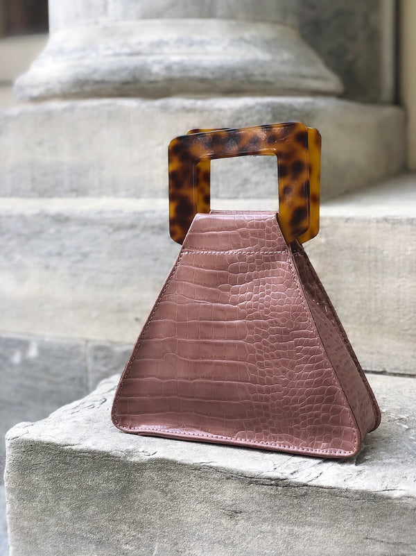 Delilah Mock Croc Tortoise Top Handle Triangle Bag - Mauve-Handbag-urban expressions-AMQN Boutique