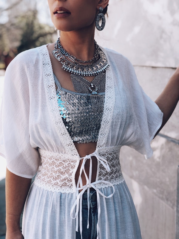 Darya Crochet Lace Tie Front Duster Kimono Top - White