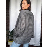 Presley Gray Puff Sleeve Chunky Knit Cardigan Sweater Top - FU Pretty, amannequin - amannequin