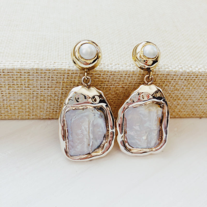 Benevolence Mother Of Pearl Sterling Silver Drop Earrings - amannequin - amannequin