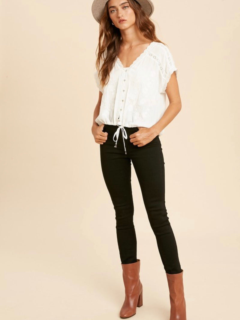 Lauren Boho Embroidered Top