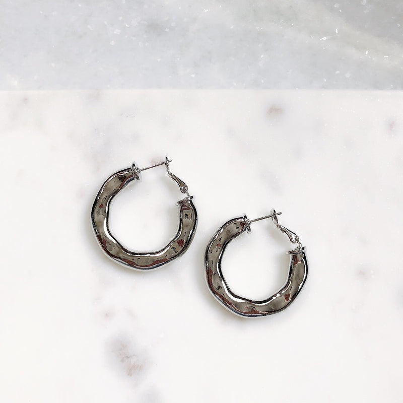 Adella Silver Metallic Hoop Earrings - amannequin - amannequin