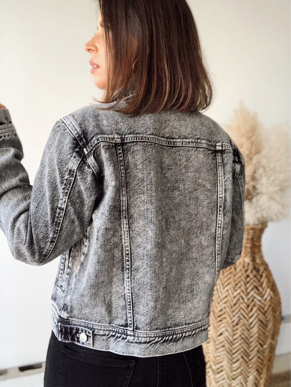 Positive Vibes Washed Black Denim Jacket