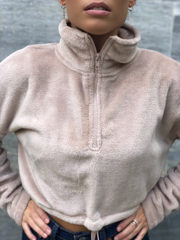 Miki Cropped Fleece Pull Over - Nude - amannequin - amannequin