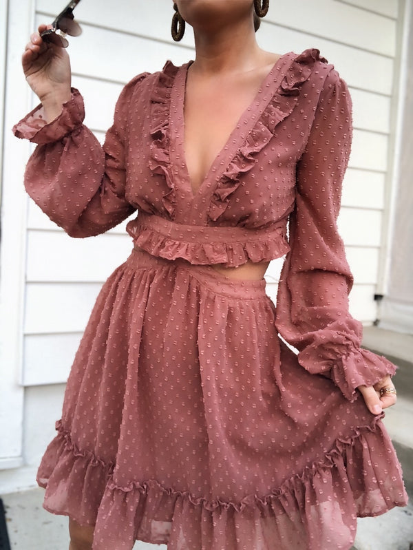 Isabella Swiss Dot Puff Sleeve Dress - Mauve-dress-do + be-AMQN Boutique