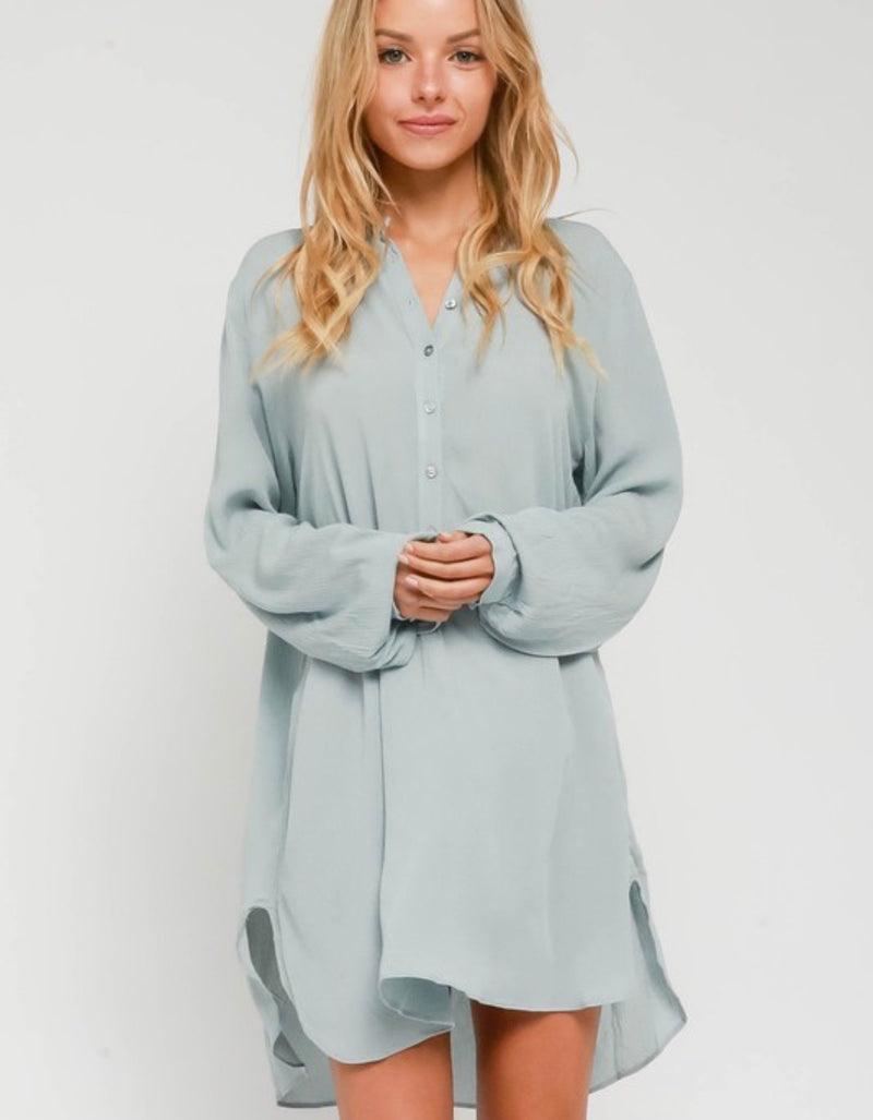 Ester Oversized Button Down Top - Baby Blue