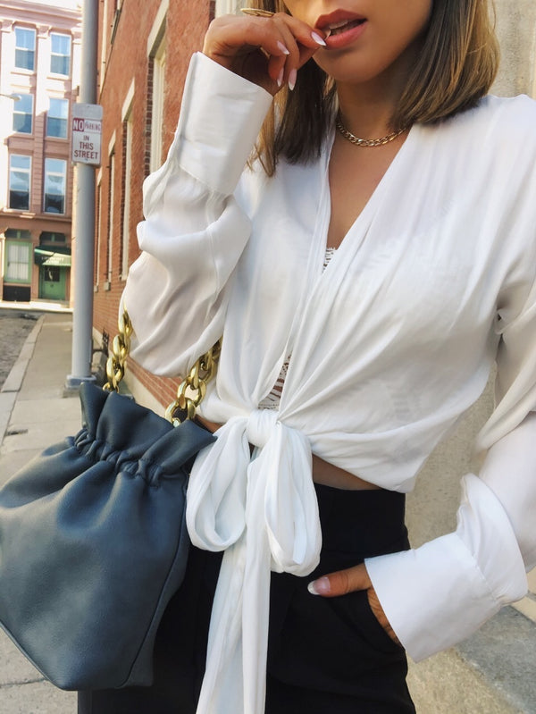 Kelly Tie Front Blouse Top - White