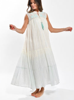 Meera Metallic Embroidered Maxi Dress - Turquoise