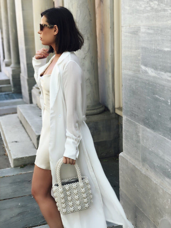 Cate White Lightweight Trench Coat Duster Jacket - amannequin - amannequin