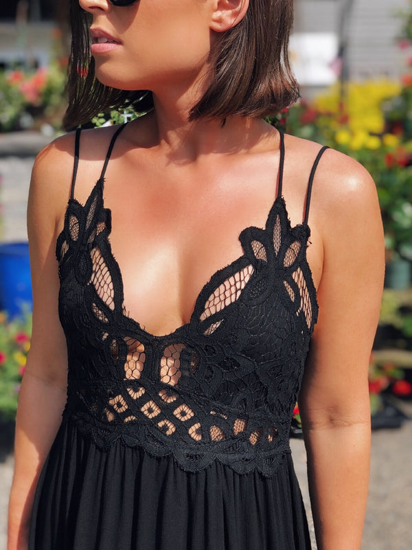 Paris Black Boho Crochet Slip Dress-dress-la miel-AMQN Boutique