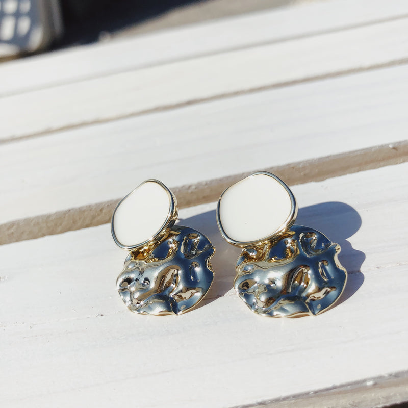 Danica White Enamel Sterling Silver Earrings - amannequin - amannequin