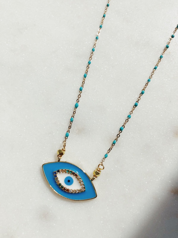 Evil Eye Turquoise Bead Necklace - Gold