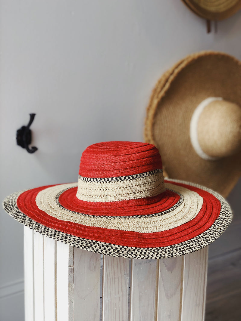 Layne Straw Hat - Natural/Red