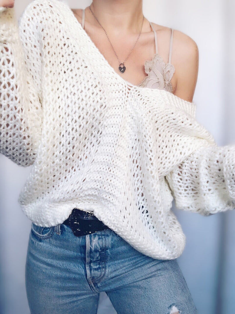 Kennedy Cream Super Soft Off the Shoulder Sweater - amannequin - amannequin