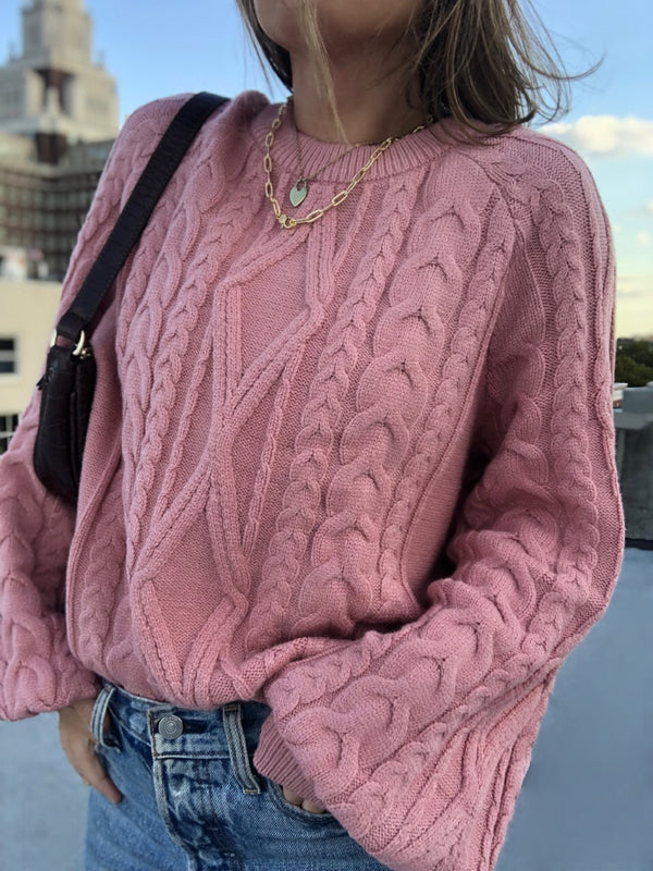 Freja Cable Knit Puff Sleeve Sweater - Rose - amannequin - amannequin