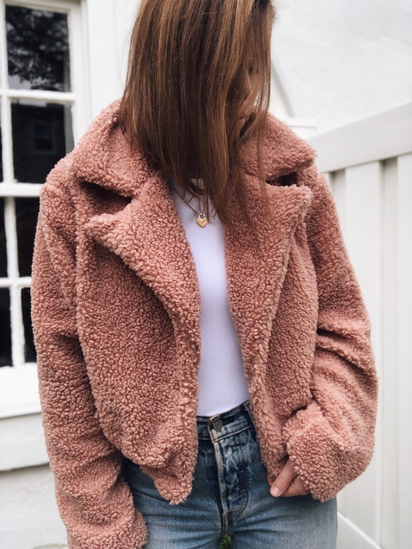BriBri Cropped Faux Fur Teddy Jacket - Mauve-jacket-FAVLUX-AMQN Boutique