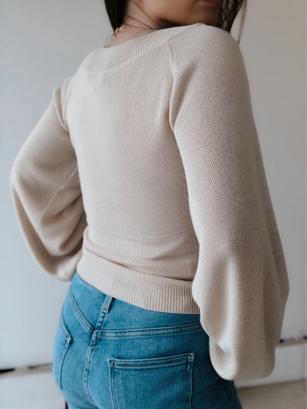 Margaux Puff Sleeve Knit Sweater | Oatmeal