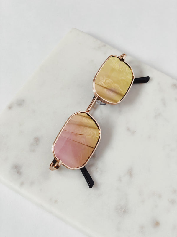 Piper Rose Gold Mirrored Slim Square Sunglasses by AJ Morgan - amannequin - amannequin