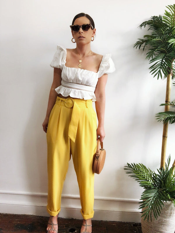 Bodhi Yellow High Waist Tapered Cropped Pants-pants-flying tomato-AMQN Boutique