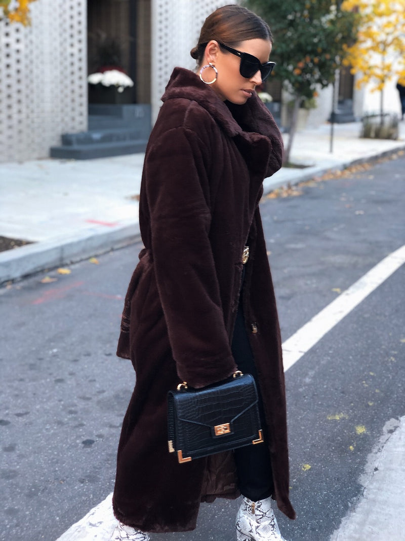 Chae Faux Fur Robe-Style Coat - Brown - amannequin - amannequin