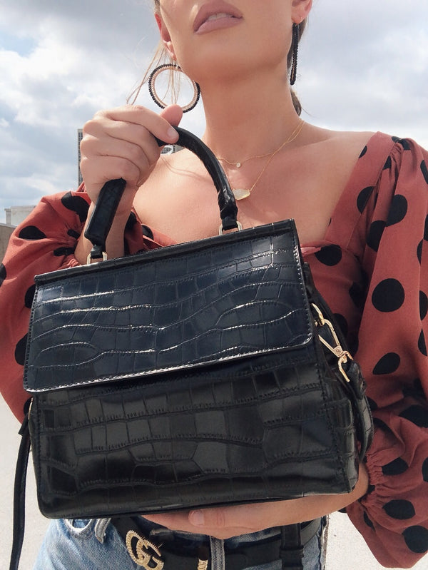 Piper Top Handle Snakeskin + Mock Croc Shoulder Bag - amannequin - amannequin