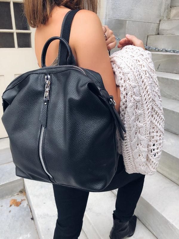 Kenzie Black Vegan Leather Backpack - Urban Expressions-Handbag-urban expressions-AMQN Boutique